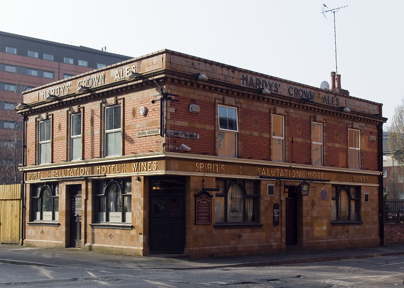Manchester pubs, The Salutation Hotel (popularly known as 'The Sally') at the junction of Higher Chatham Street and Boundary Street West. This Victorian public house became part of MMU's estates when it was purchased by the university in 2011.