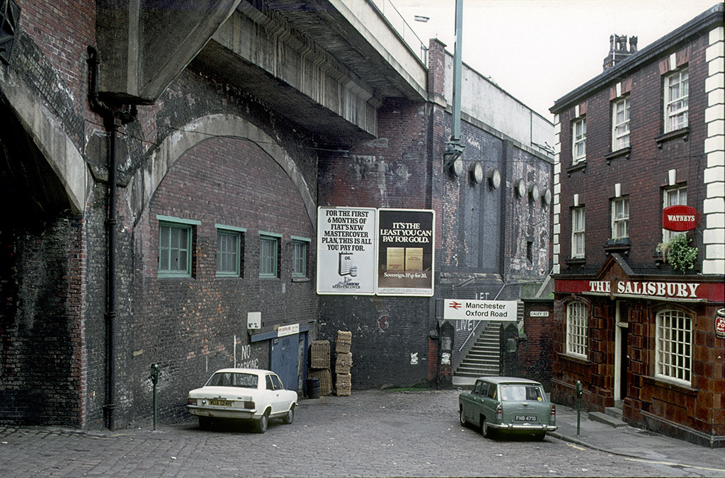 Manchester pubs, View of Wakefield Street towards Oxford Road Station, around 1974