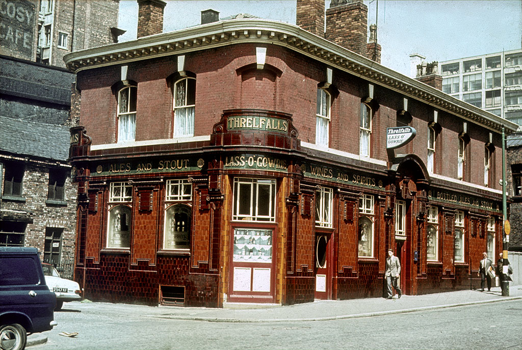 Manchester pubs, The Lass O' Gowrie pub on Charles Street in the late 1960s.