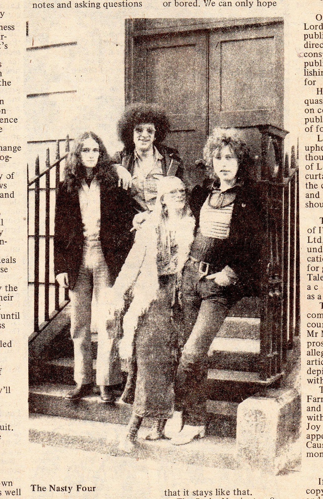"""The Nasty Four"": 1972, during the ""IT"" + ""Nasty Tales 1"" ""obscene publications"" trials: Mick Farren [director], 2nd from left, with Joy Farren [secretary, then Mrs. Farren], Edward Barker [director + cartoonist], Paul Lewis [editor, director]"