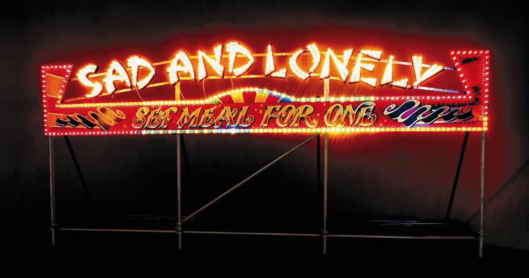 Sad And Lonely, 2006. Wood, paint, aluminium, fairground lights. 7.4 x 3.7 x 1.5m