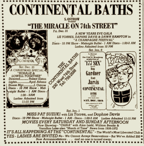 "Continental Baths Village Voice ad from December 23, ""the world's most liberated club"""