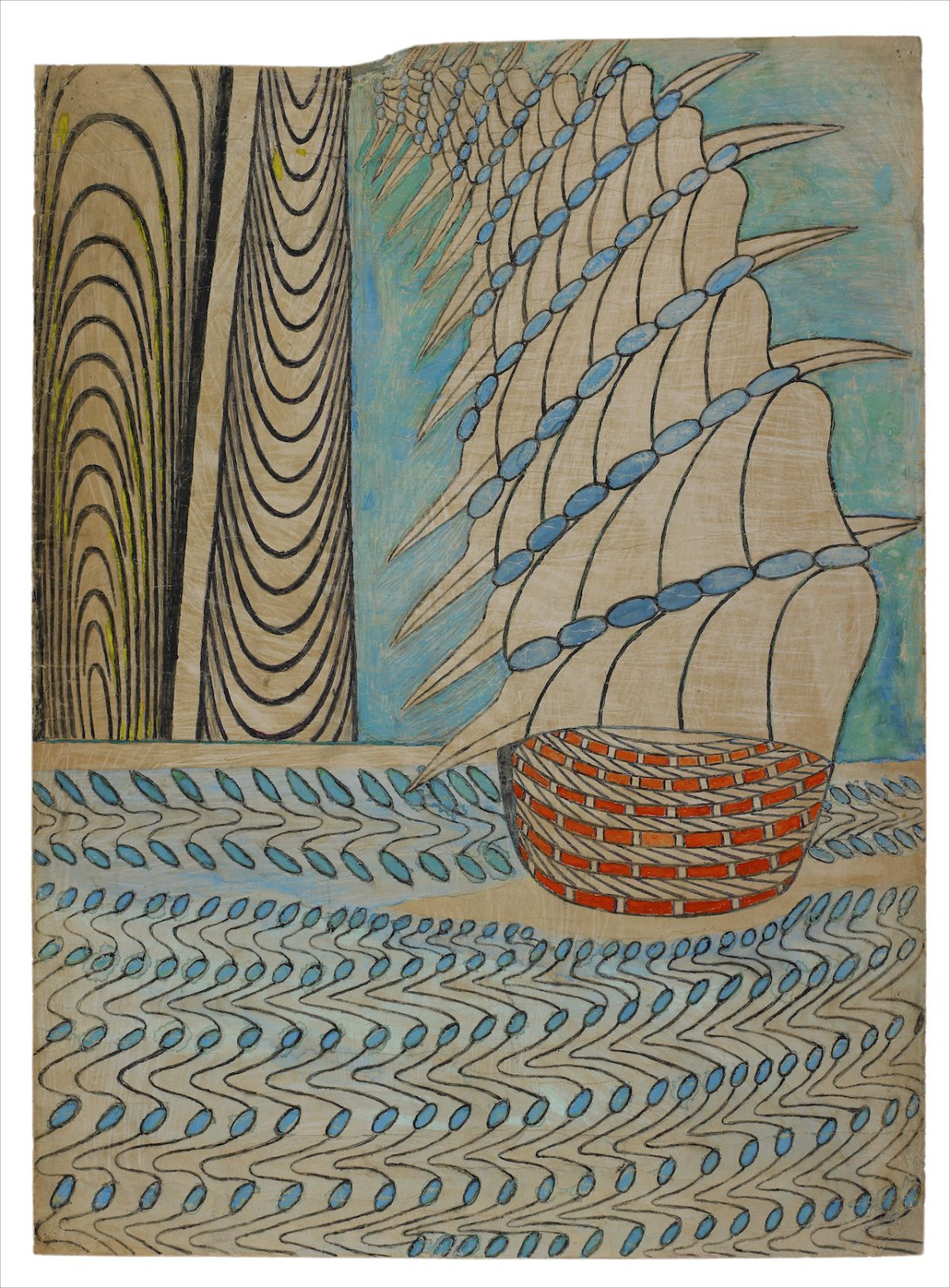 "Martin Ramirez, ""Untitled (Galleon on Water)"" (c. 1960–63), gouache, colored pencil, and graphite on pieced paper, 33 x 24 in"