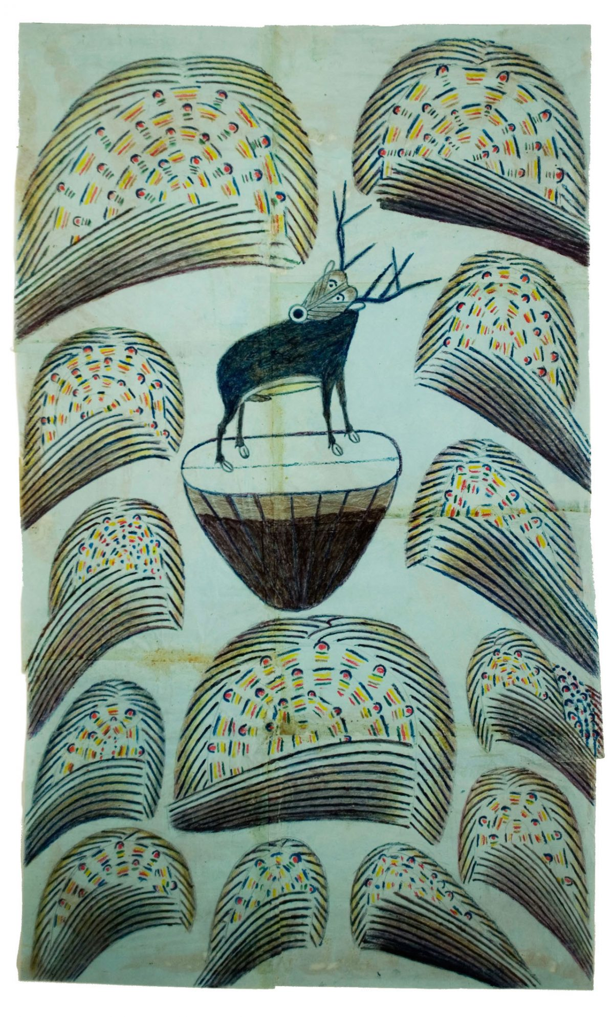"Martín Ramírez, ""Untitled (Stag on Mound with Fireworks)"" (c. 1952–53), graphite, tempera and crayon on paper, 32 x 19 1/2 in; 81.3 x 49.3 cm"