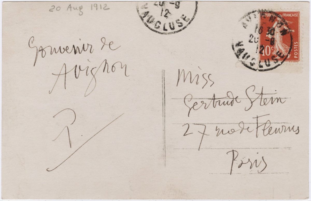 1912 Aug 20, Avignon, [to] Gertrude Stein from Pablo Picasso From: Gertrude Stein and Alice B. Toklas papers
