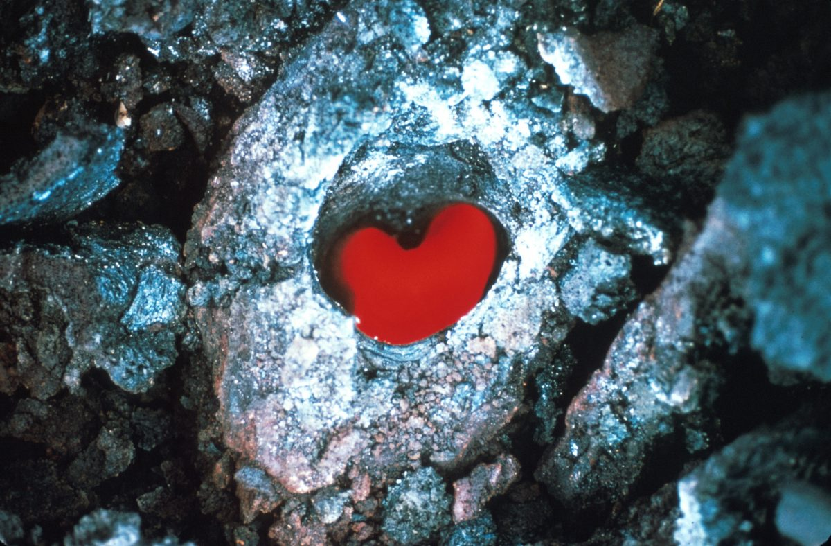 we found for you this great photo of a glowing tree mold, in the shape of a heart no doubt, from the October 1968 eruption of Kilauea volcano in Hawaii Volcanoes National Park. This photo was taken west of Napau Crater. Credit: D.A. Swanson, Oct 12, 1968.