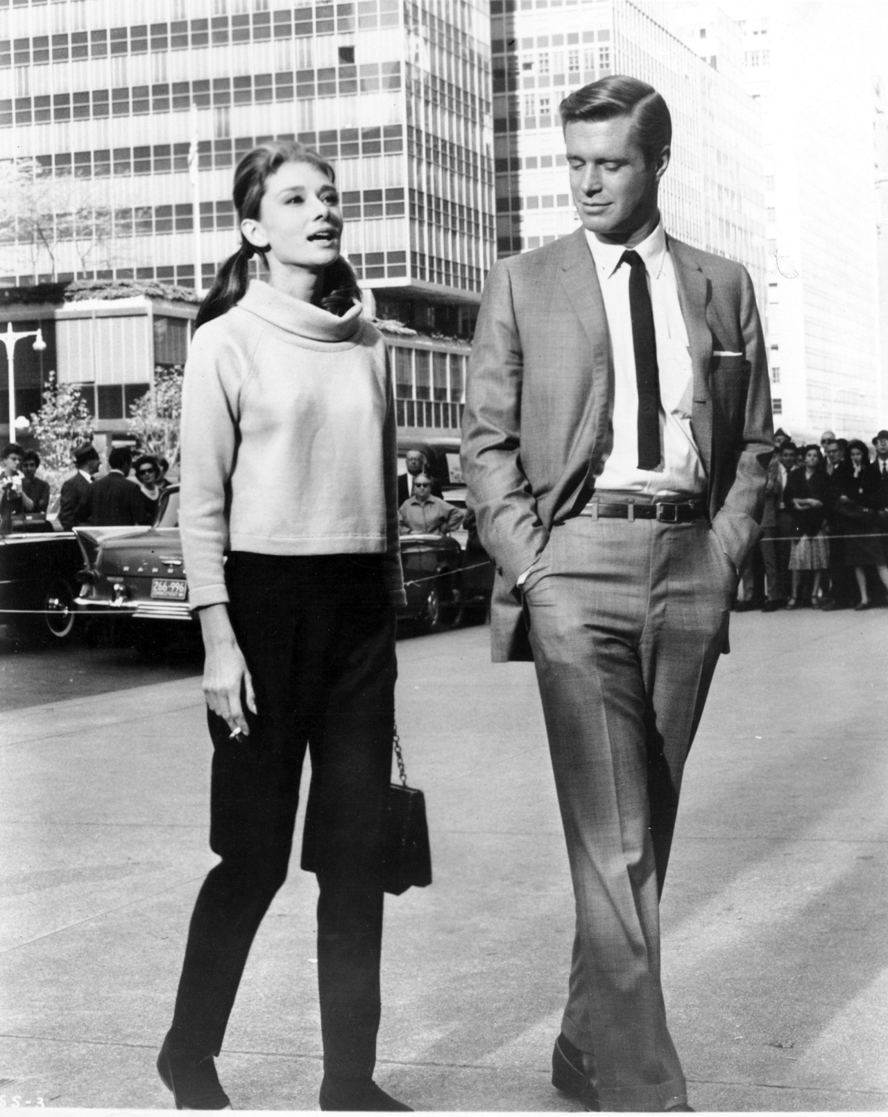Audrey Hepburn And George Peppard On The Set Of Breakfast