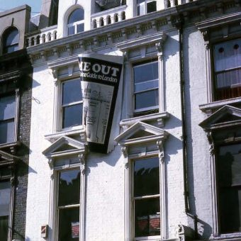 Electric Colour Company's sign for Time Out's Gray's Inn Road offices, 1970