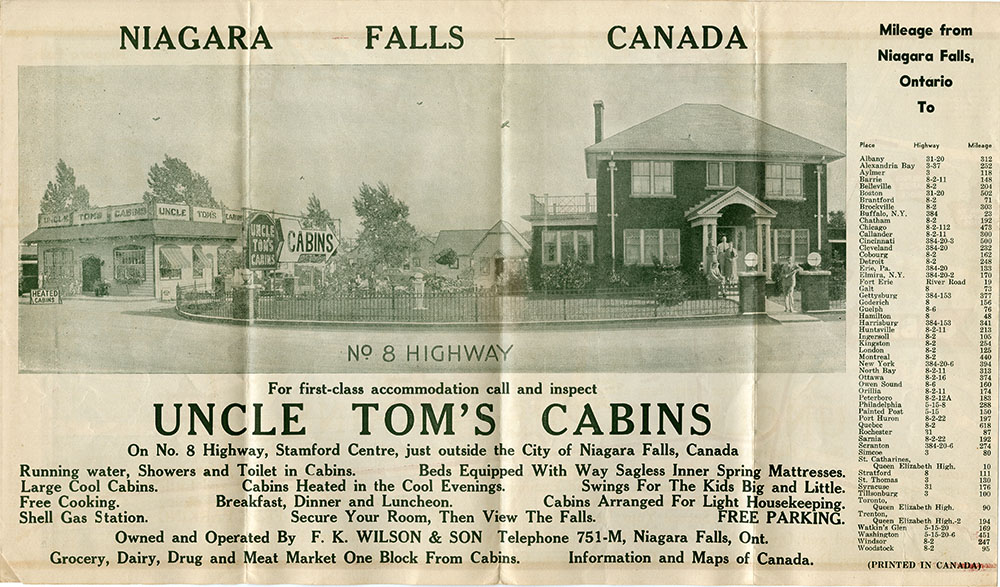 Four pages from brochure for Uncle Tom's Cabins, Stamford Centre, Niagara Falls, Ontario. N.d.