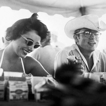 Elizabeth Taylor, James Dean & Rock Hudson on the set of Giant (1956)