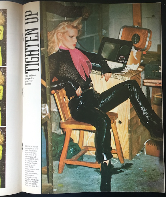 Model in mohair/vinyl top, patent jeans and boots from SEX, autumn 1975 issue of 19. Paul Gorman Archive