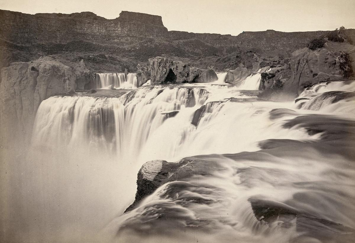 Shoshone Falls, Snake River, Idaho. A view across top of the falls in 1874