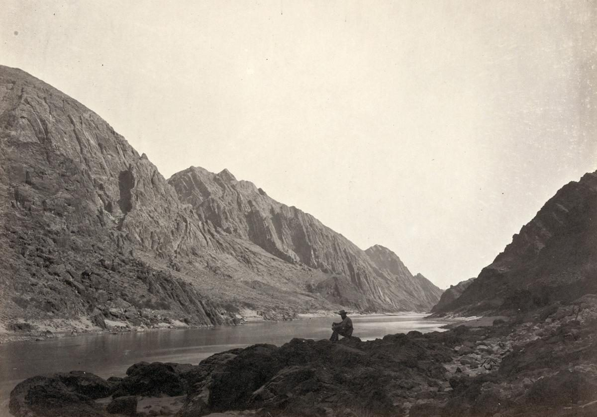 Colorado River in Iceberg Canyon, on the border of Mojave County, Arizona, and Clark County, Nevada in 1871