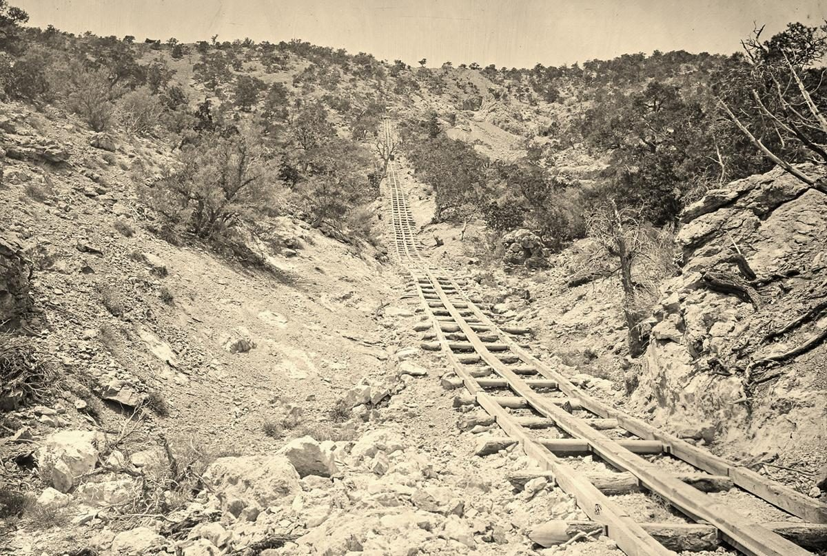A wooden balanced incline used for gold mining, at the Illinois Mine in the Pahranagat Mining District, Nevada in 1871