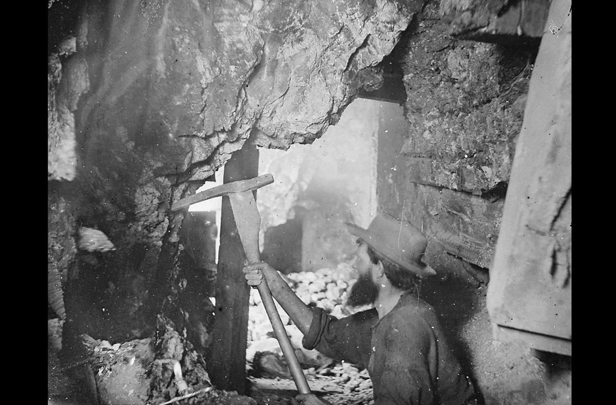 1867 - Timothy O'Sullivan photographed miners at the Savage, the Gould and Curry mines on the Comstock Lode, Nevada.