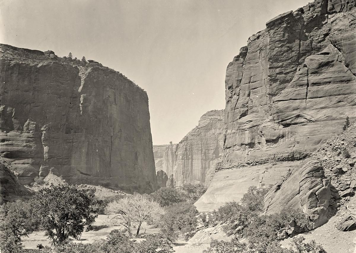 Canyon de Chelly, looking past walls that rise some 1,200 feet above the canyon floor, in Arizona in 1873