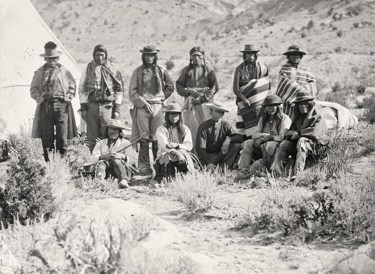 Pah-Ute (Paiute) Indian group, near Cedar, Utah, in 1872