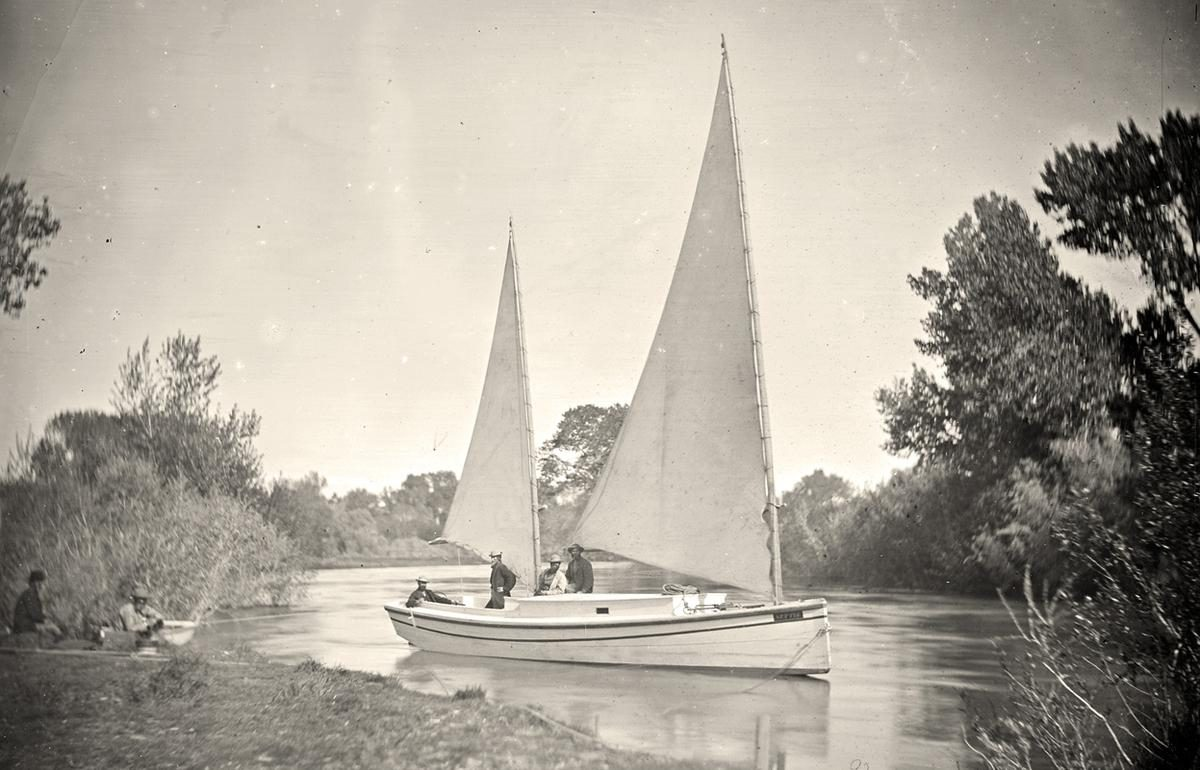 "The ""Nettie"", an expedition boat on the Truckee River, western Nevada, in 1867"