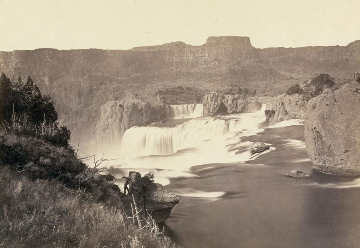 Shoshone Falls, Idaho, in 1868. Shoshone Falls, near present-day Twin Falls, Idaho, is 212 feet high, and flows over a rim 1,000 feet wide