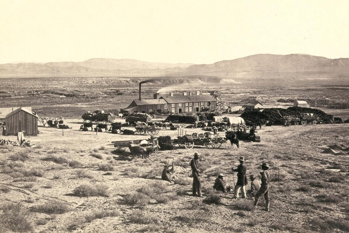Members of Clarence King's Fortieth Parallel Survey team, near Oreana, Nevada, in 1867