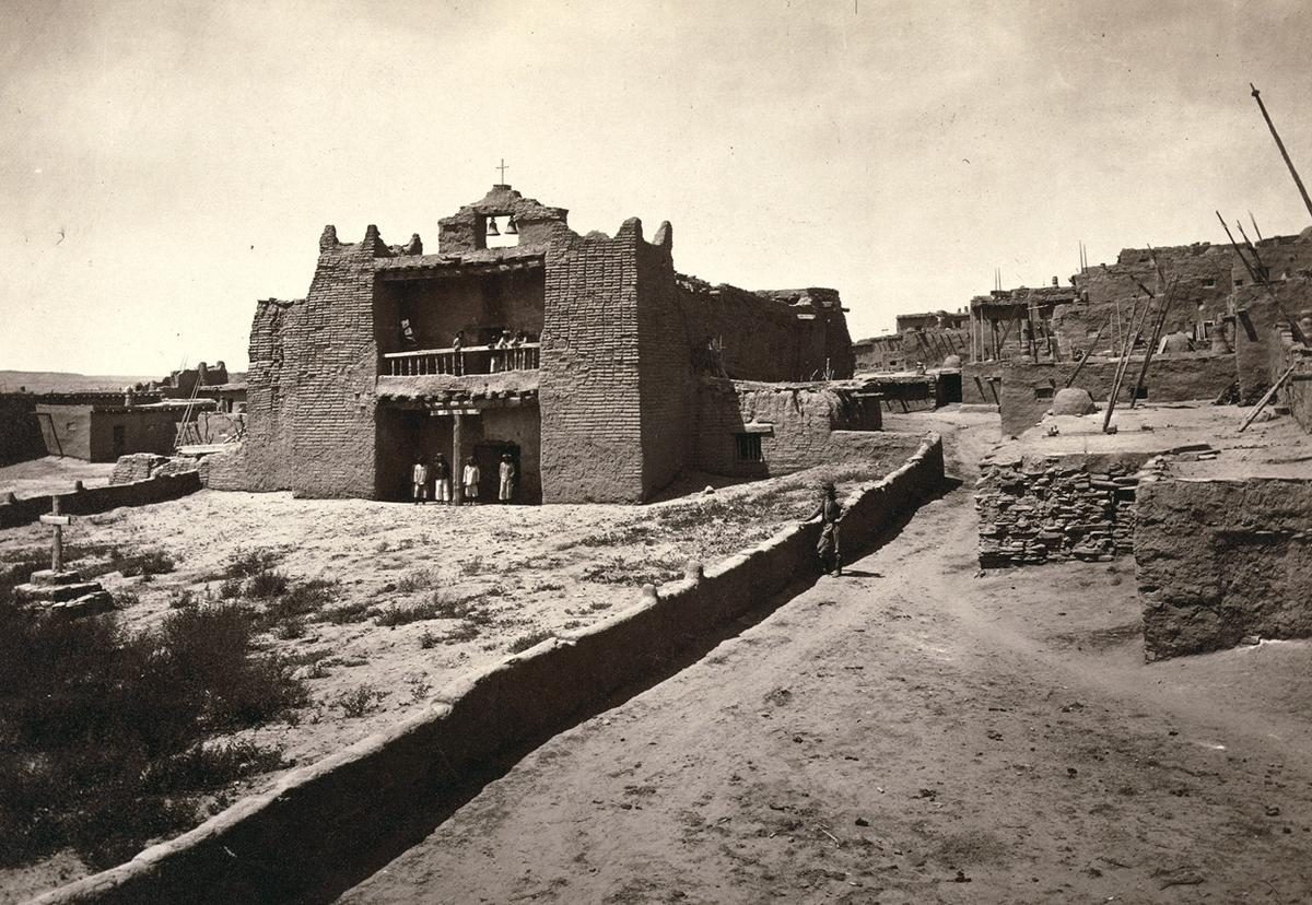 Old Mission Church, Zuni Pueblo, New Mexico. View from the plaza in 1873