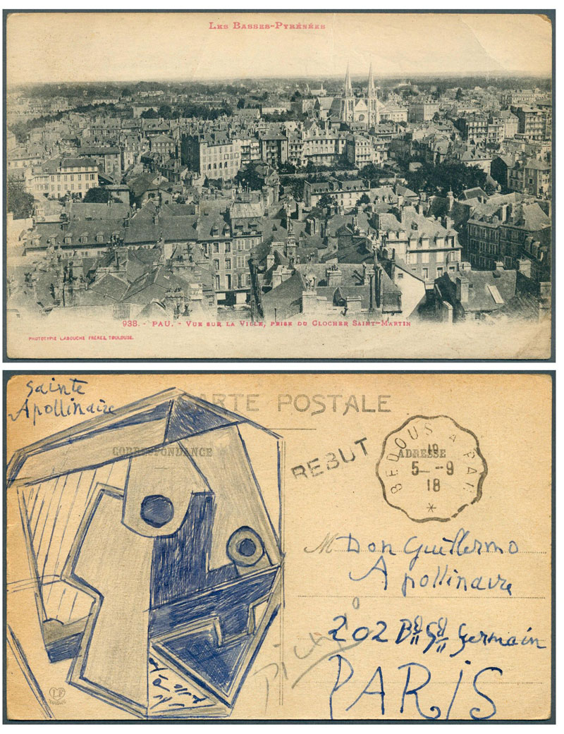 Pablo Picasso to his friend, French poet Guillaume Apollinaire postcard