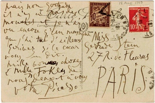 picasso to stein postcard