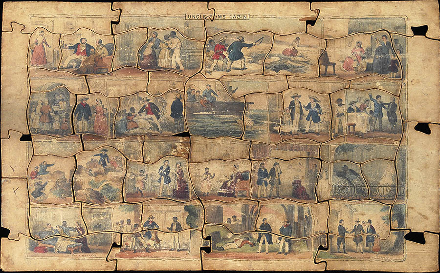 This 52-piece puzzle and the following 34-piece puzzle were almost certainly made by the same manufacturer, but there is no indication of who that was, or where or when they were made. The odds are good that both were made in England in the early 1850's, during the period of the novel's greatest popularity.