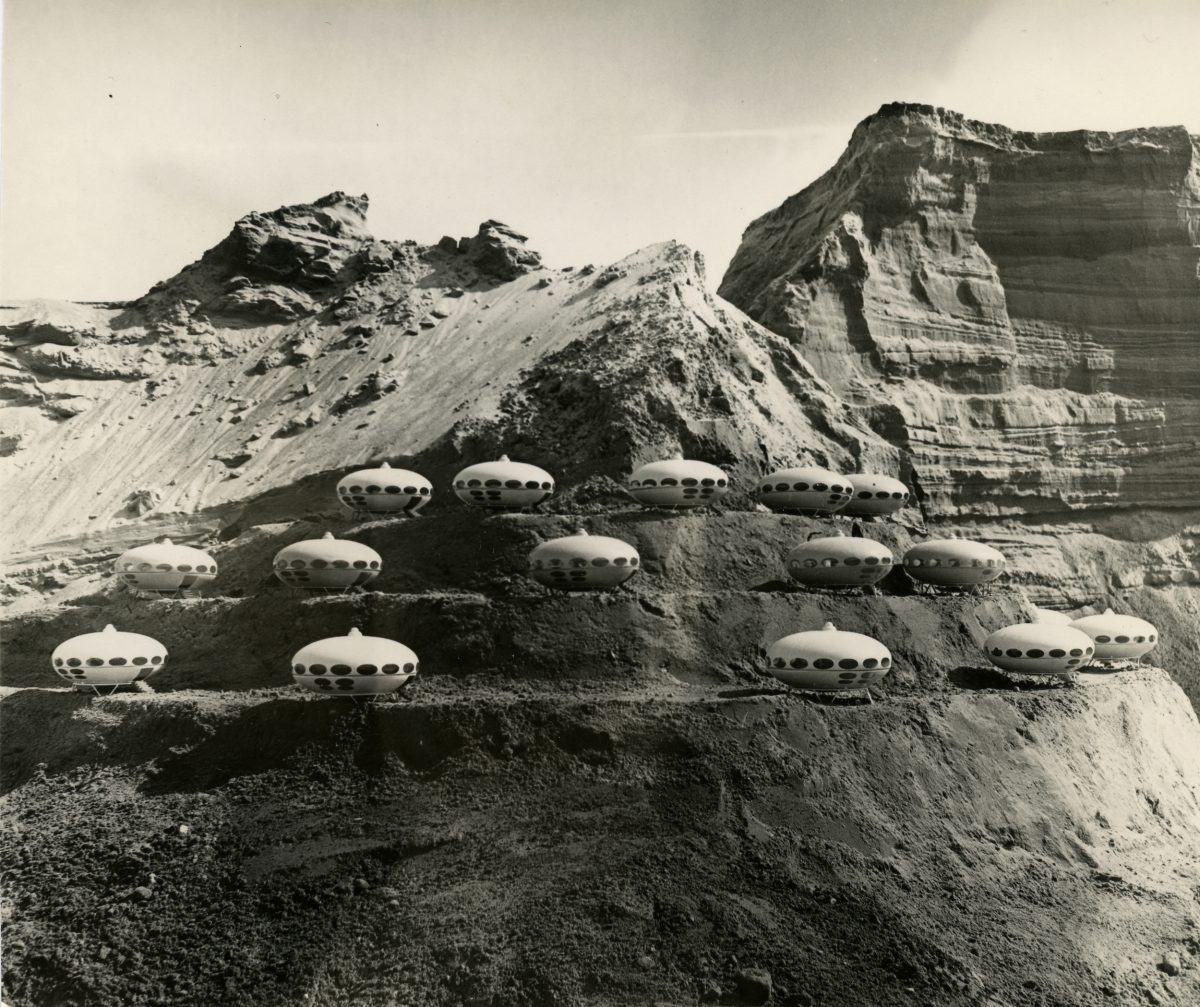 FUTURO houses on a mountain, late 1960s. The photo was taken with scale models of the house. © Matti Suuronen, Espoo City Museum, photo: unknown