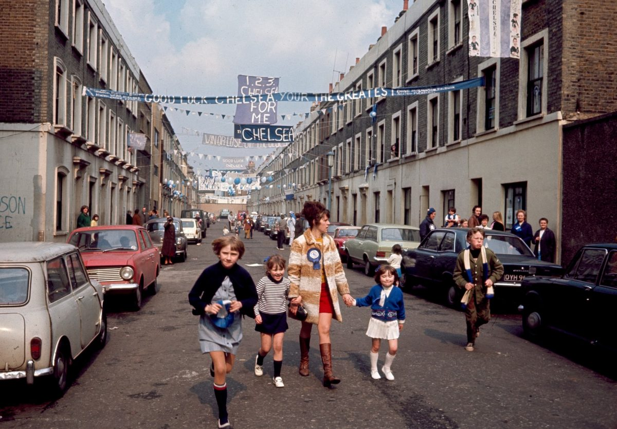 Chelsea fans hang banners across Slaidburn Street, west London ahead of their FA Cup final match against Leeds, 11 April 1970. Photograph: Gerry Cranham/Offside