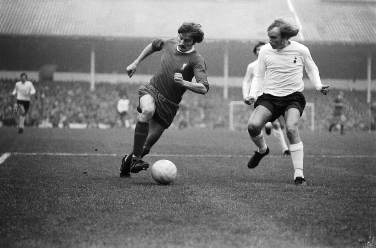 Liverpool winger Steve Heighway takes on a Spurs defender in 1970. Photograph: Central Press/Getty Images