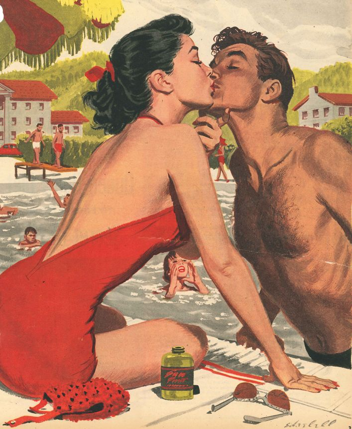 "Ed Vebell illustration to ""How to Spot Those Romantic Summertime Phonies,"" Sunday Mirror Magazine, June 27, 1954. Caption: ""Summer time romances, starting with a kiss at the pool, can often lead to heartbreak. Resort Romeos spin some tall tales in pitching their woo."""
