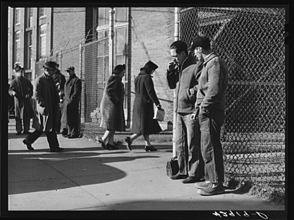 Employees entering textile mill in New Bedford, Massachusetts Jan 1941