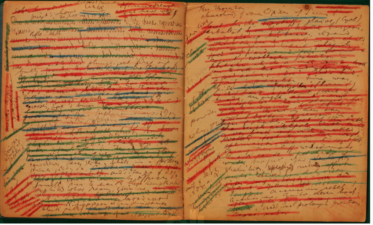 James Joyce, notebook for Ulysses crayons