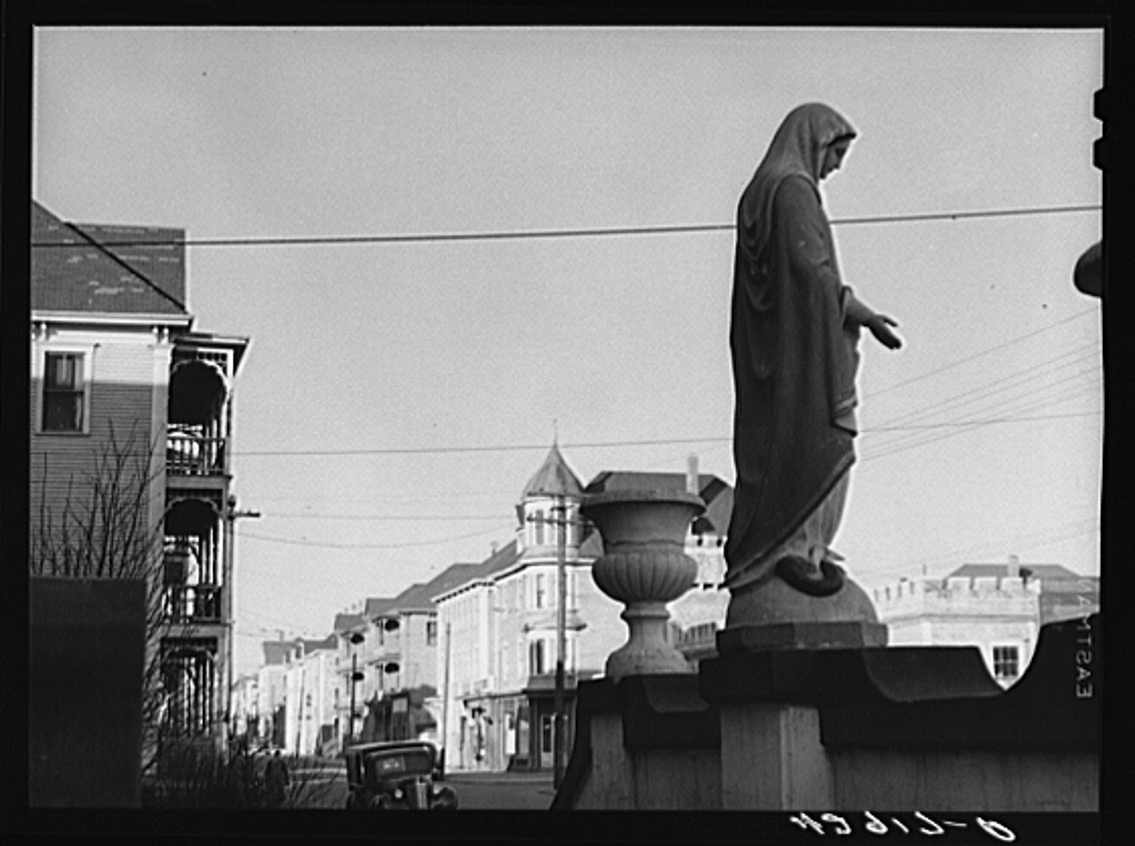 Madonna in front of church on a street in New Bedford, Massachusetts Jan 1941