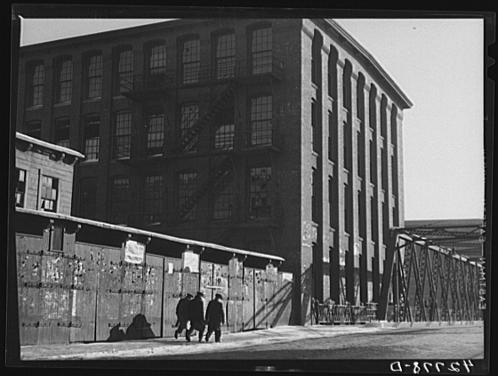 Men going to work at the mill. Lawrence, Massachusetts Jan 1941