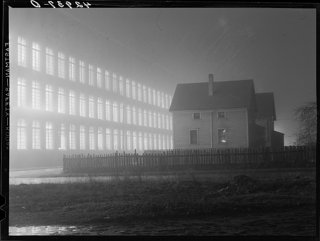 "January 1941. ""Textile mill working all night in New Bedford, Massachusetts"