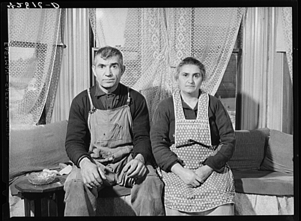 Mr. and Mrs. Ovgen Arakelian, Armenian vegetable farmers in West Andover, Massachusetts. They have an eleven-acre farm and a son works in a blanket factory in Lowell to help support the family Jan 1941