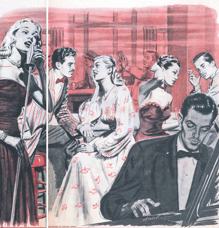 "Sunday Mirror Magazine, July 20, 1947. Illustration by Ed Vebell. Cutline: ""In some night clubs girls who get jobs as entertainers find they are also expected to entice the customers into buying drinks."""