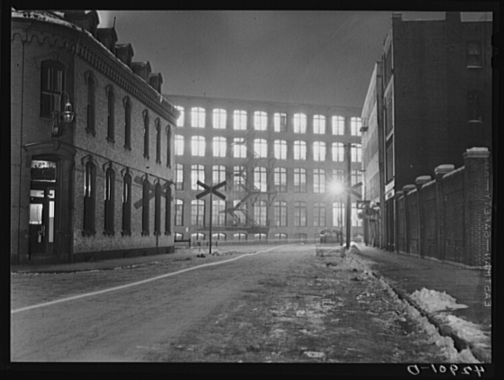 Textile mill working all night in Lowell, Massachusetts Jan 1941