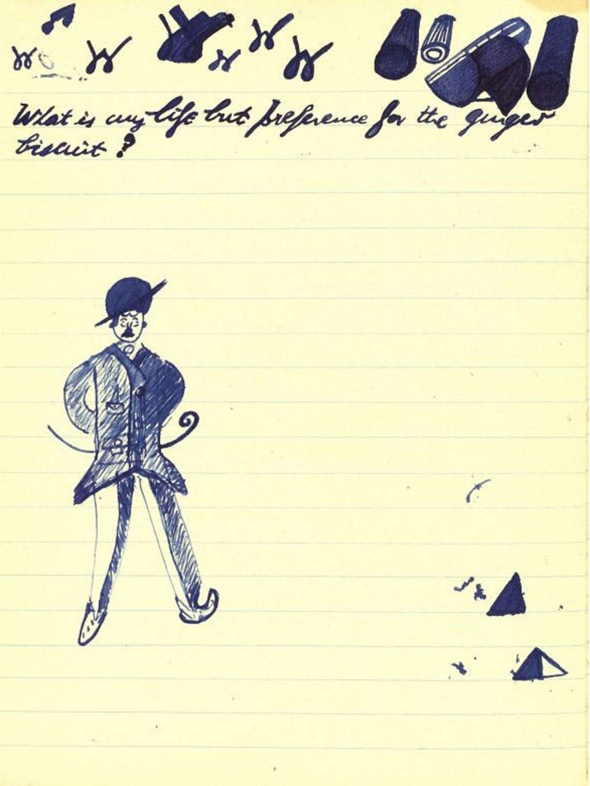 Doodles in Murphy and a note by Beckett relating to his first novel