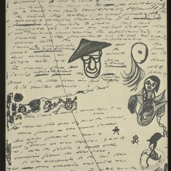 Samuel Beckett Doodles Charlie Chaplin and James Joyce on his Manuscripts