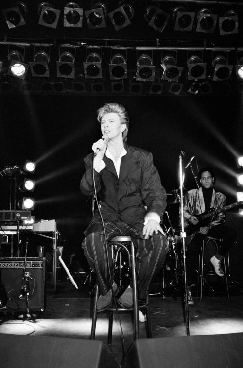 British pop singer David Bowie performing on stage. 21st March 1987.