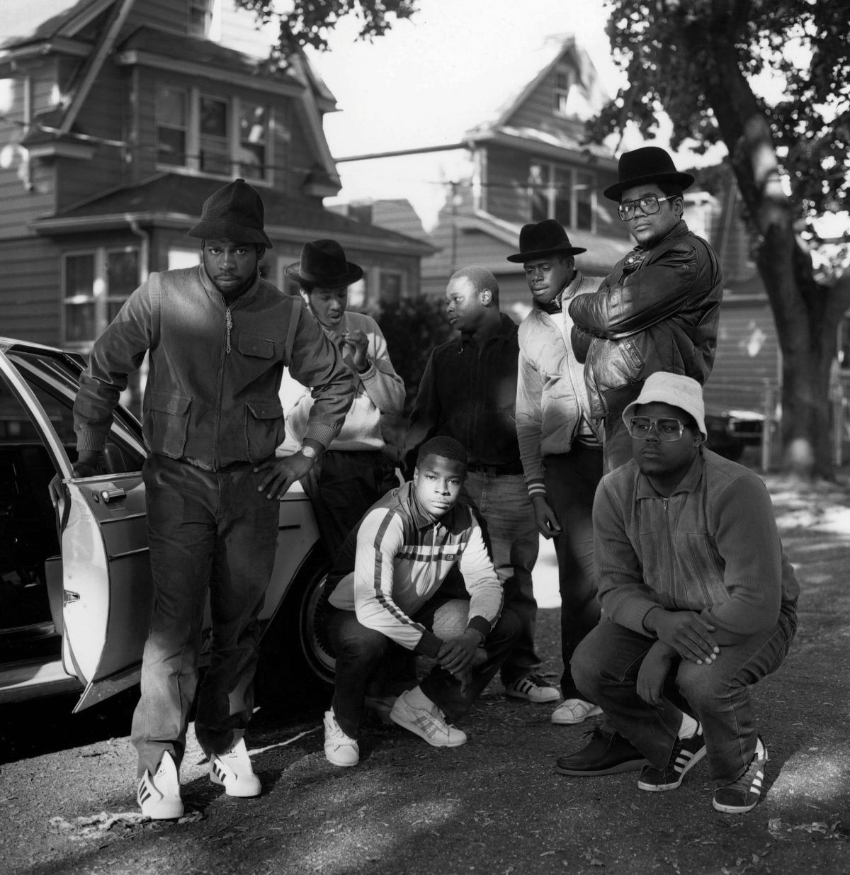 Run DMC and friends, in Queens, 1984 In 1984, Janette Beckman got an assignment from the Face to photograph 'a new group called Run DMC'. She says: 'I called the number they gave me, Jam Master Jay's mum's house. We met at the Hollis subway station and Jay walked me to the street where they lived. The group were hanging out with friends, I started to take photos – this was maybe my second shot. Seems like a moment in time, they looked perfect in their Kangols, Cazals and Adidas' Photograph: Janette Beckman/Redferns