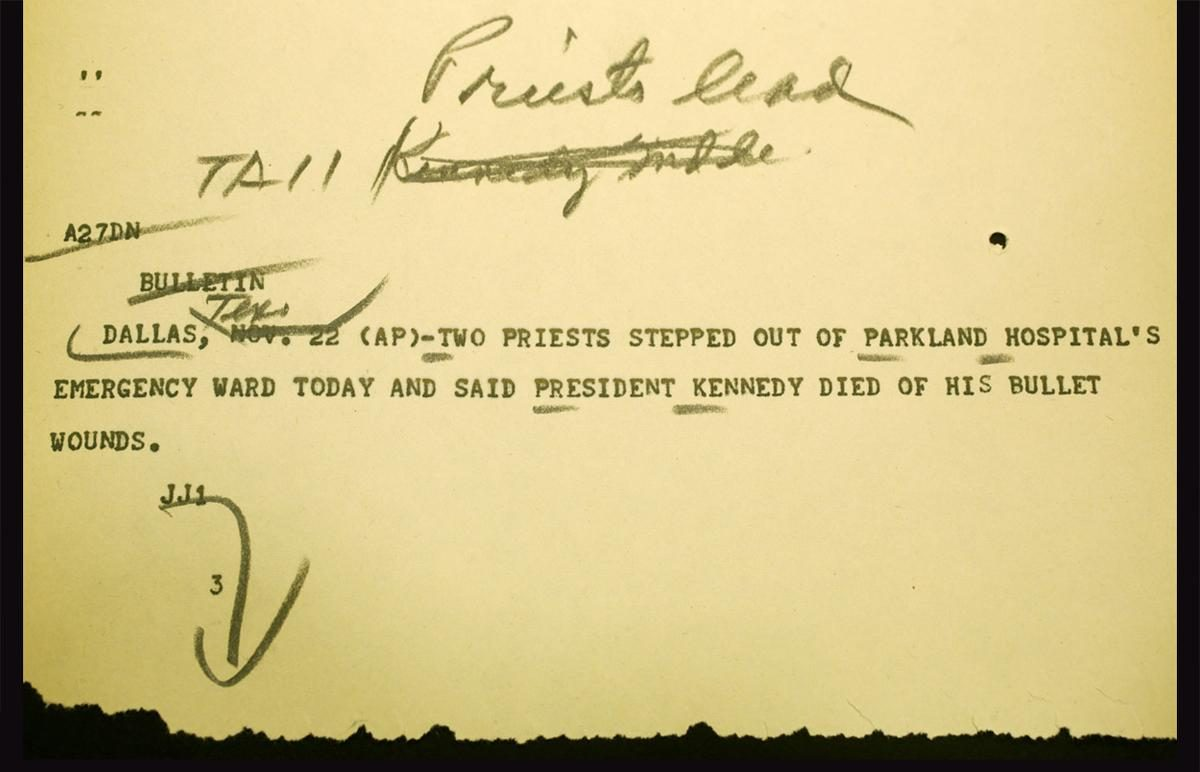 President Kennedy first report death Dallas AP 1963