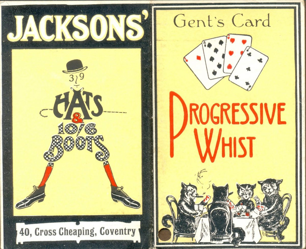 Gentleman's Card for Progressive Whist with advertisement for men's clothing. Cats playing cards possibly Louis Wain. 1923.