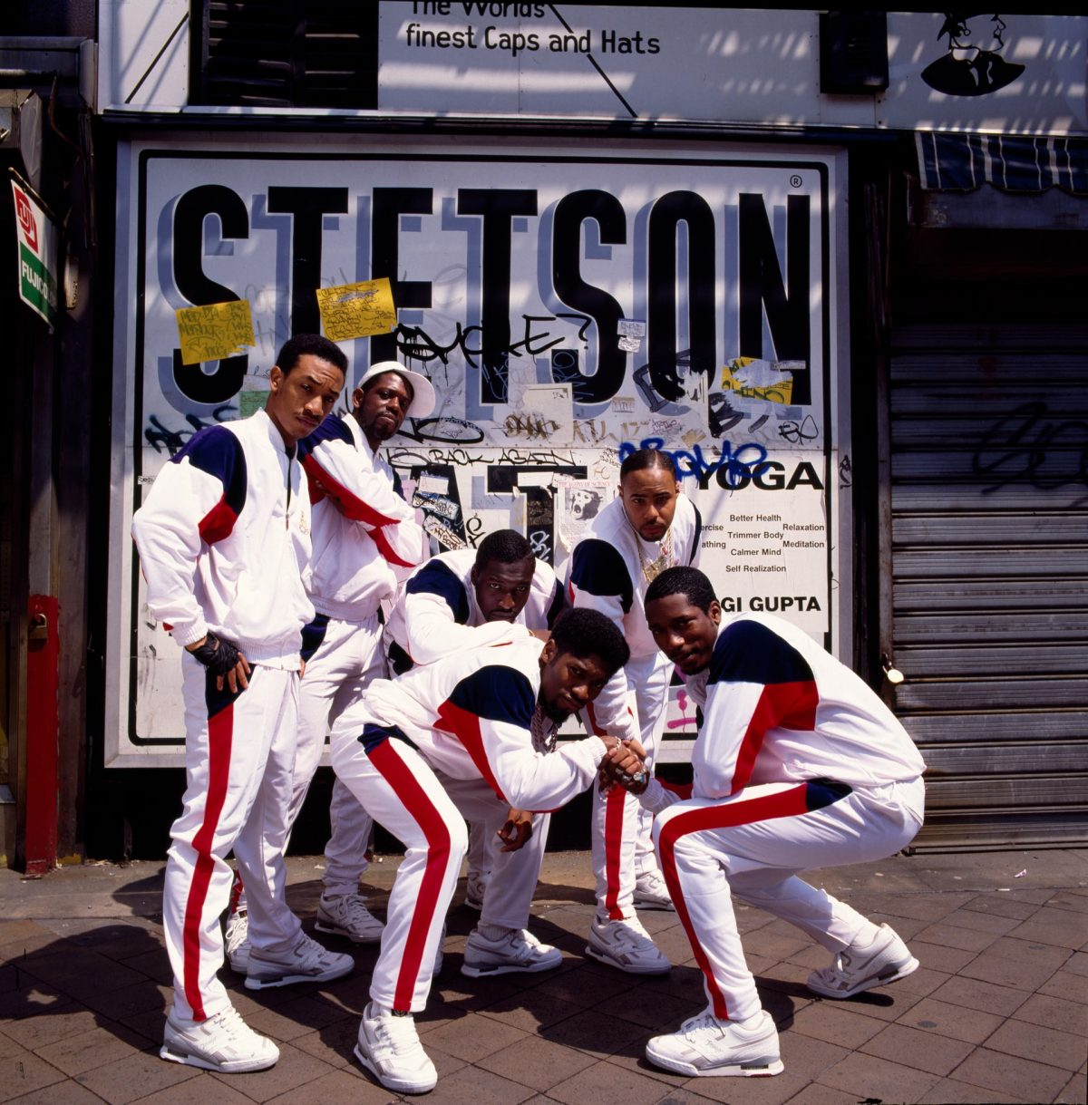 Stetsasonic in Brooklyn, 1988 'I spent the day with Stetsasonic photographing them for the album cover for In Full Gear,' says Beckman. 'I knew about the Stetson poster in Brooklyn. It was covered in graffiti, including a tag by the legendary Chino, who 25 years later would reinterpret this photo as part of my Mashup series, drawing over his own work' Photograph: Janette Beckman/Getty Images