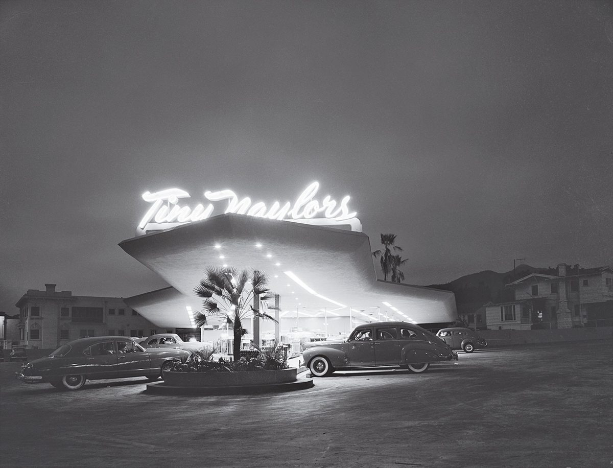 Marvin Rand's 1949 image of a Los Angeles drive-in by architect Douglas Honnold.