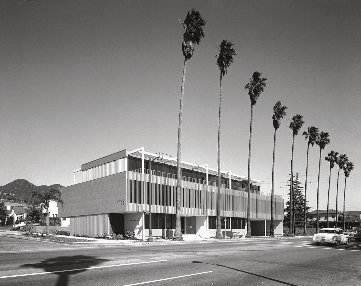 Honnold & Rex Office building on Sunset Boulevard, Los Angeles, 1961.