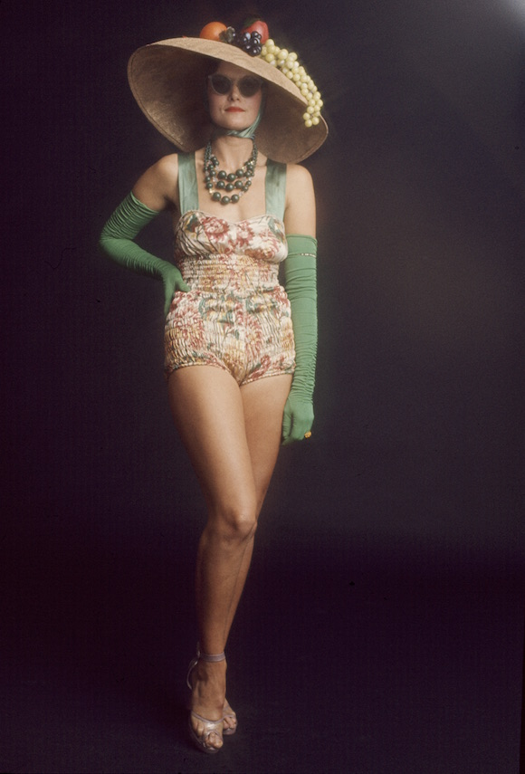 Diane Logan (favourite reading: March 1934 issue of Vogue) in one of her outfits as contestant Rita Ritz in the 1973 Alternative Miss World. Sandals from City Lights Studio. Photography © John Bishop. No reproduction without permission